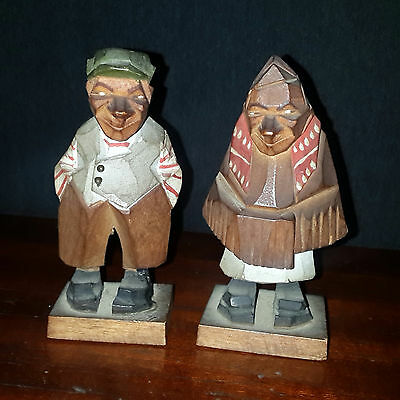 PAIR OF WOODEN FIGURES GERMAN BLACK FOREST Painted and hand carved VERY OLD