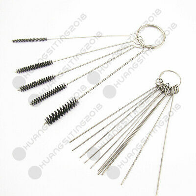 Carburetor Carbon Dirt Jet Remove 10 Cleaning Needles + 5 Brushes Tool Kits