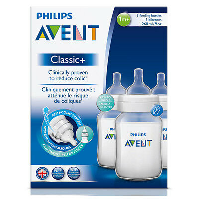 NEW Avent Baby Feeding Bottle Classic Pack Reduces Colic 1 Month+ 260ml 3Pack