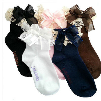 Girls Kids Toddlers White Black Blue Pink Lace Bowknot Trim Frilly Ankle Socks