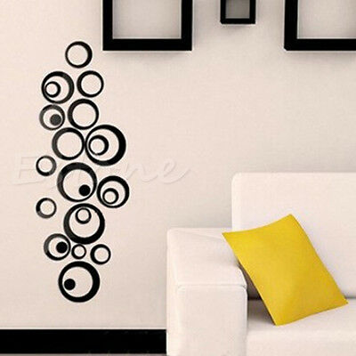 Black Fashion Circles Mirror Style Removable Decal Vinyl Art Wall Sticker Decor