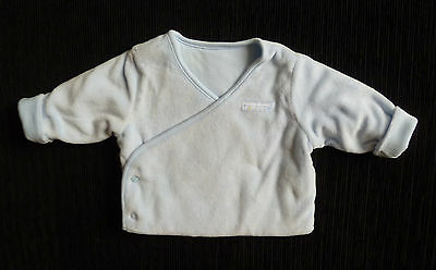 Baby clothes BOY 0-3m M&S double-breasted blue velour jacket 2nd item post-free!