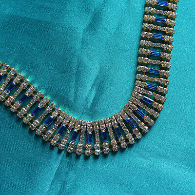 Bling Browband Supplies - 10cm Crystal Chain w Royal Blue Baguettes & Gold Set