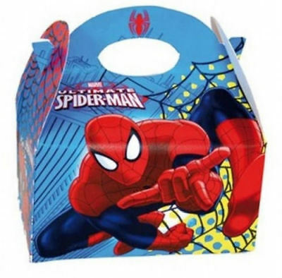 6 Spiderman Party Boxes - Official Branded - Loot Lunch Cardboard Gift Food