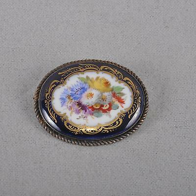 Meissen Brooch Flowers Bouquet kobalt & gold, First Quality, Knauf time