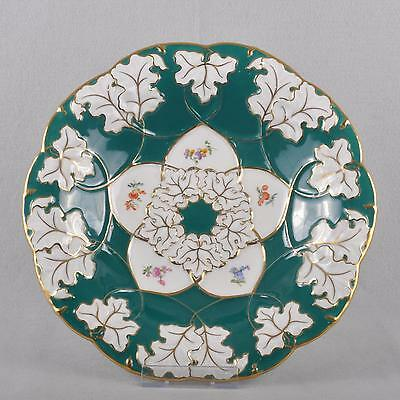 Meissen Ceremonial Plate / Bowl Russian Green & Scattered Flowers, Prunk