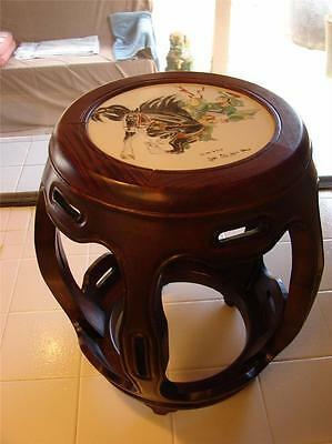 Famille - Verte Porcelain Inlaid - Hongmu Barrel Stool - Quing Dynasty - 19Th C