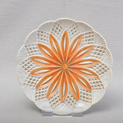 Meissen neo-gothic Plate / Wall plate, 18,5 cm, orange, gold, rare, around 1820