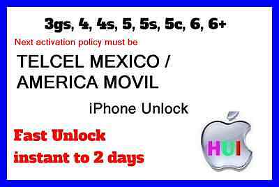 Fastest Factory Unlock for iPhone TELCEL MEXICO AMERICA MOVIL 3gs 4 4s 5 5s 6 6+