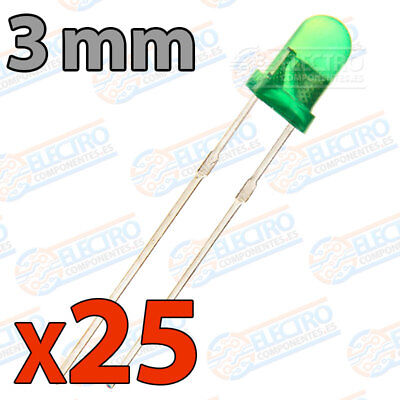 25x LED 3mm VERDE DIFUSO 20mA diodo diode diffuse green