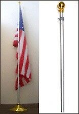 8 Ft Aluminum Telescoping Indoor Flag Pole Gold Ball Top