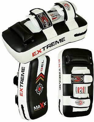 Maxx Leather 1PAIR Thai Kick Boxing Strike Curved Arm Pad MMA Ufc Shield Pads B1