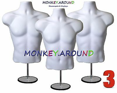 3 Male Mannequin White Torso Forms +3 Hook +3 Stand - Display's Men Shirt Pants