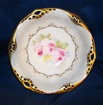 "Royal Bayreuth 10 1/2"" Serving Bowl w/ Pink Roses & Gold"