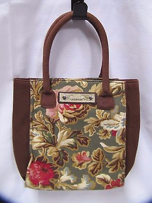 Longaberger Purse Handbag Canvas and Fabric with Floral Pattern
