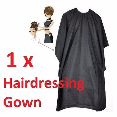 1 x HAIRDRESSING HAIR CUTTING BARBER HAIRDRESSER SALON BLACK CAPE GOWN