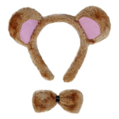 Bear Ears & Bow Tie Costume Set ~ HALLOWEEN BEAR DRESS UP PARTY ACCESSORY KIT