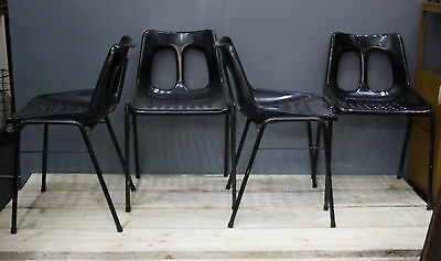 Mid Century Modern Vintage Stacking Chairs Plasson Set Of 4