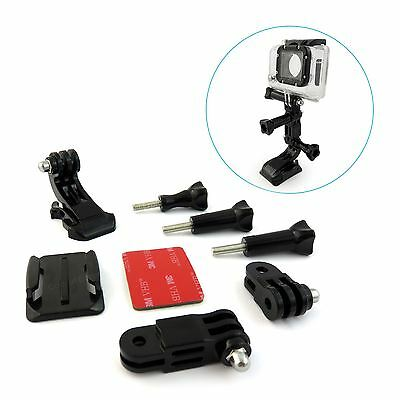 NEW Curved Adhesive Helmet Front Mount & Side Mount For Gopro Hero 4 3 2 1 UK