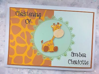 Personalised Christening Baptism Baby Shower Handmade Guest Book Album Giraffe