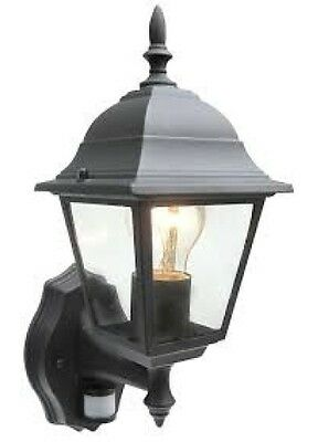 Black Wall Lantern with PIR Garden Traditional Coach Lantern - Aluminium 4Sided