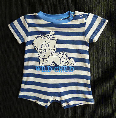 Baby clothes BOY 0-3m Cave Kids Flintstones' Bam Bam blue/grey romper SEE SHOP!