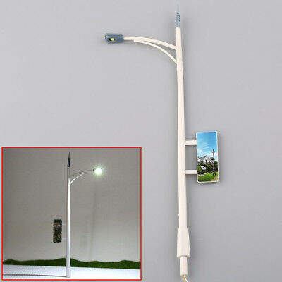 10pcs Model Railway Lamppost Lamps Street Lights with Billboard O Scale LEDs