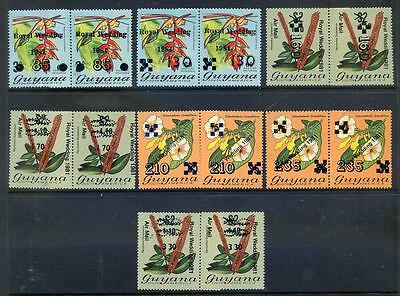Guyana 1982 Provisional Surcharges coil join pairs mint (2015/09/09#06)