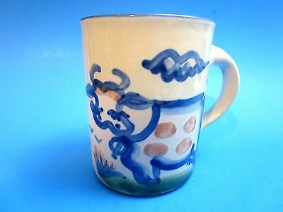 Blue Cow Signed Coffee Mug Cup M.A.Hadley Stoneware Whiteware Louisville Pottery