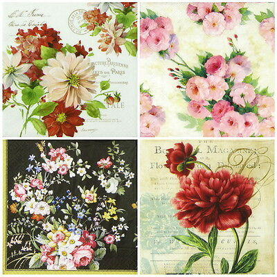 4x Paper Napkins for Decoupage Decopatch Craft Flower -Mix