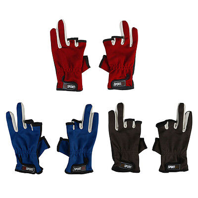 Breathable Fishing Gloves Hunting 3 Cut Finger Anti-Slip Palm Mitts Wrist