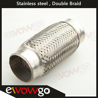 """Exhaust Flex Pipe 2.5""""(63MM) x 6""""(152MM) OL Heavy  Stainless Steel Double Braid"""