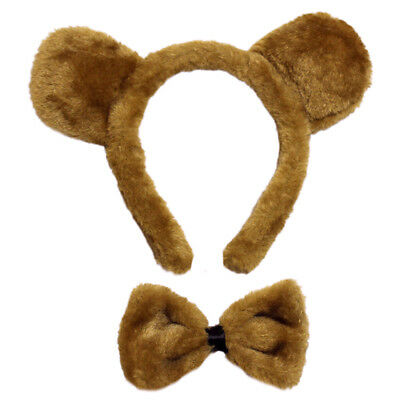 Brown Bear Ears & Bow Tie Costume Set ~ HALLOWEEN DRESS UP PARTY ACCESSORY KIT
