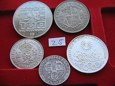 5 large x Silver World coins  high grade free UK Insured post lot 25