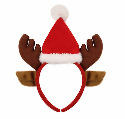Reindeer Hat Headband - Fancy Dress Costume Outfit Santa Red