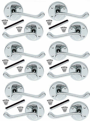 6 x Pairs of Victorian Scroll Lever on Rose Door Handles Polished Chrome Mirage
