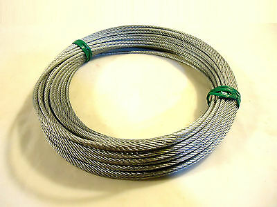 "1/8"" Wire Rope 7 X 7 Galvanized Steel, 100 Feet, New."