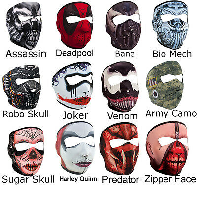 Neoprene Ski Mask - Full Face Reversible Bikers Masks Skull Bane Deadpool Venom