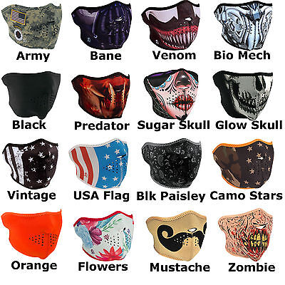 Neoprene Half Ski Mask - Face Reversible Bikers Masks Skull Bane Deadpool Venom