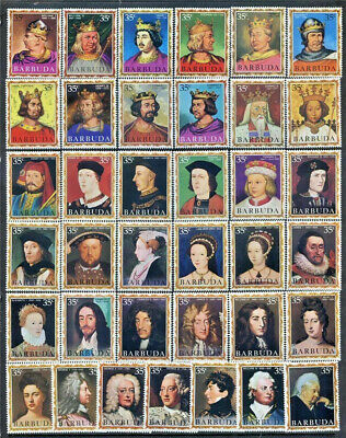 English Monarchs Barbuda #43 - 79 Mint NH Complete Set 37 Different Royalty
