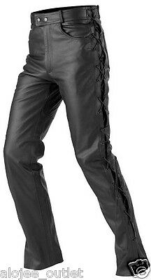 Mens Motorbike Motorcycle Leather Jeans Trouser With Side Laces