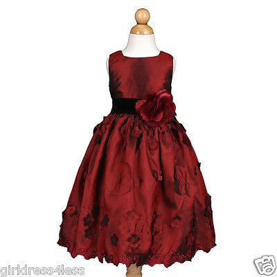 Burgundy Wine Pageant Formal Christmas Holiday Flower Girl Dress Size 3/4 5/6