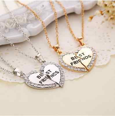 Cute Best Friend Chain Break Heart Pendant BFF Friendship Necklace Charms Gift