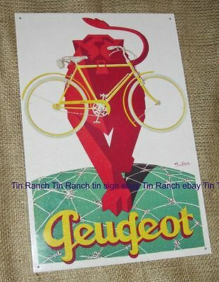 PEUGEOT bicycle TIN SIGN vintage BIKE CYCLING Metal wall poster old advertising