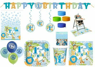 1st First Birthday Boy Jungle Safari Blue Tableware Party Decoration Animal