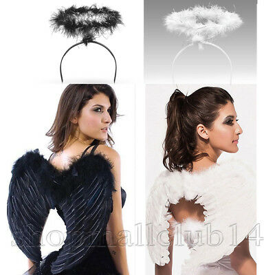 Adult Feather Wings With Halo Women Men Angel Costume 80-60CM