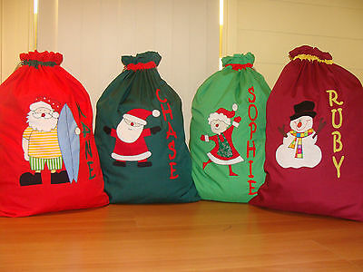 CHILD'S PERSONALISED CHRISTMAS/SANTA SACKS - 13 Designs Available -