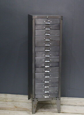 Vintage Industrial Stripped Metal 15 Drawer Stor Filing Cabinet Storage