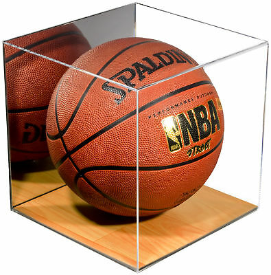 Acrylic Full Size Basketball Display Case with Wood Floor and Mirror (A008-WB)