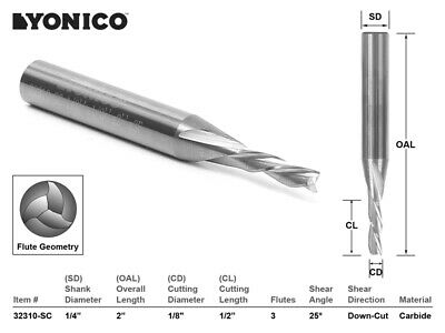 "CNC Router Bit Down Cut Solid Carbide 1/8"" X 1/2"" X 1/4"" X 2"" YONICO 32310-SC"